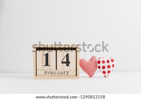 Wooden 14 February calendar