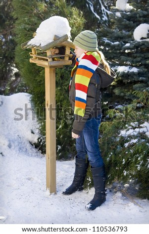 Wooden feeder for birds in snowy garden