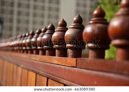 Wooden  fence decor #663089380