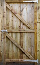 wooden fence gate door with latch