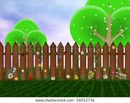 Wooden fence on the backyard