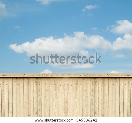 wooden fence sky clouds #545336242