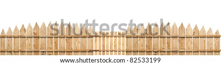wooden fence with a gate isolated on white