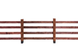 Wooden fence with horizontal planks isolated on white background