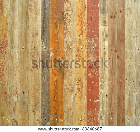 Wooden fence with paint traces