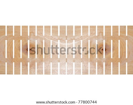 Wooden fence with texture detail isolate on white