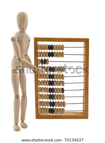 Wooden figure and old wooden abacus,isolated on white