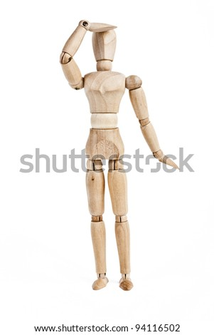 Wooden figure,isolated on white. photo