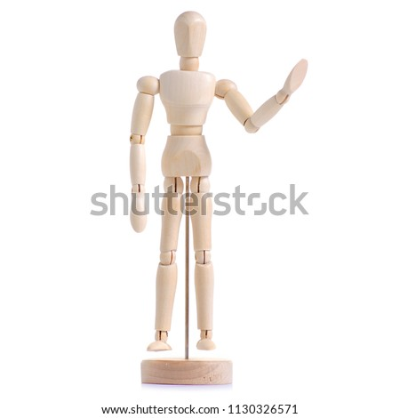 Wooden figure of a man on a white background isolation