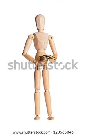 wooden figure with money (coins)