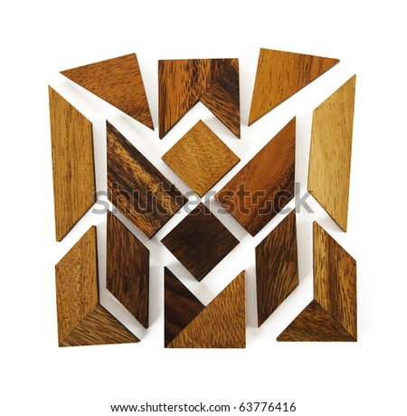 wooden figures assemble in square puzzle isolated