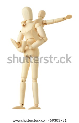 wooden figures of child sitting on back of his parent and pointing for one hand right, full body, isolated on white