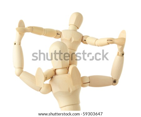 wooden figures of child sitting on neck of his parent and holding for hands, half body, isolated on white - stock photo