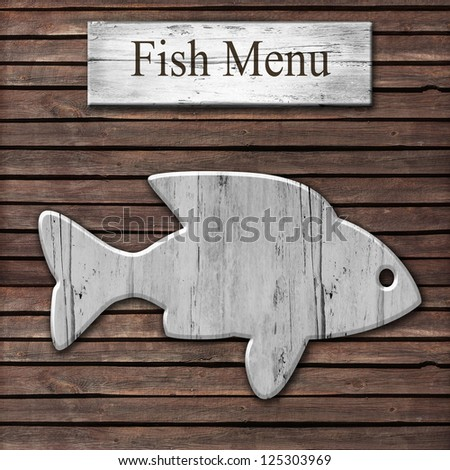 wooden fish restaurant menu card