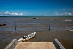 wooden fishing boat at Dompak dock, Tanjungpinang, Riau Islands, Indonesia