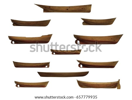 wooden fishing boats samples isolated on white background
