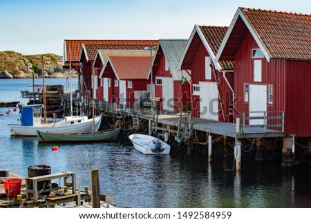 Wooden fishing huts Sweden, Scandinavia south Sweden