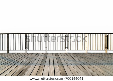 wooden floor and railings isolated on white with clipping path