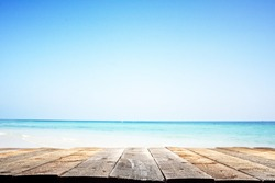 wooden floor and summer landscape of sea