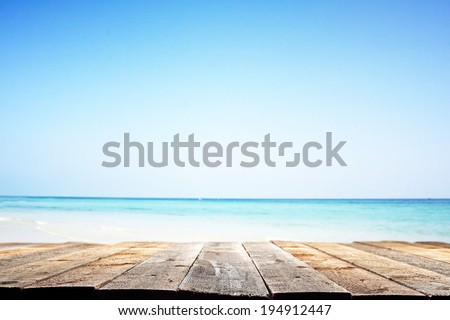 wooden floor and summer landscape of sea
