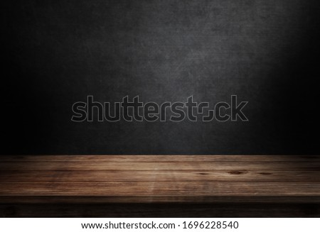 Wooden floor on black wall in dark room background 3d illustration
