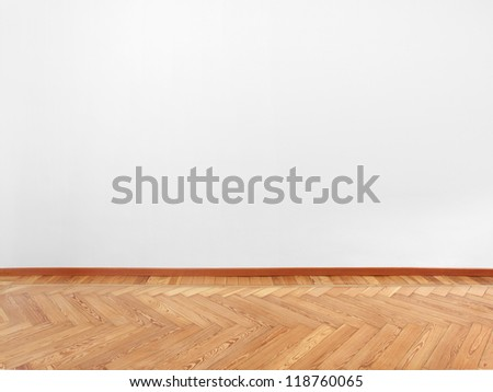 Wooden floor parquet and empty white wall