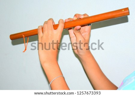 Wooden flute (handmade), hand holding a wooden flute against a white background. #1257673393