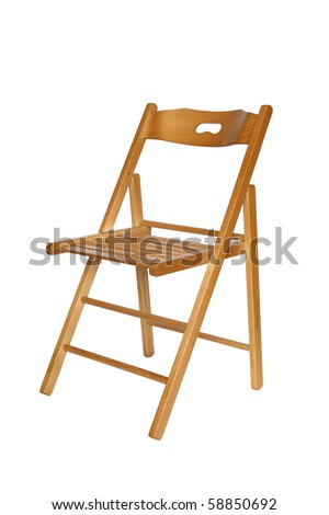 Wooden folding chair isolated on white background with clipping path