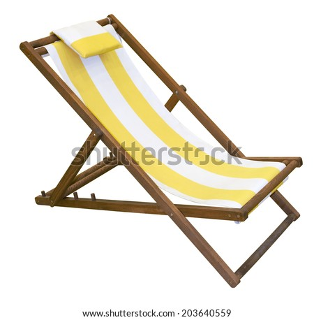 Wooden folding deck chair isolated on white with clipping path #203640559
