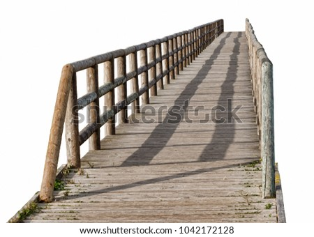 Wooden foot bridge with handrails isolated on white background