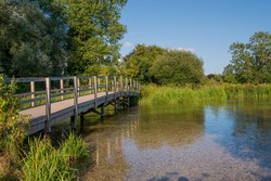 Wooden Footbridge over the River Test, Hampshire England