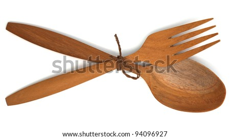 Wooden fork spoon, isolated on white