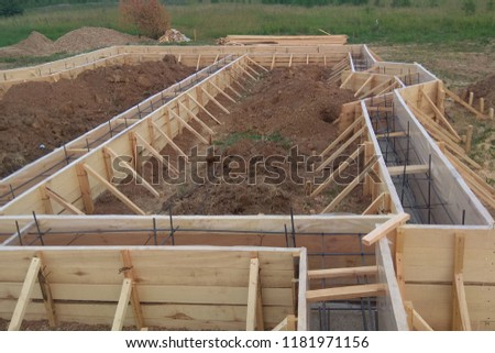 Wooden formwork concrete strip foundation for a cottage Stock photo ©