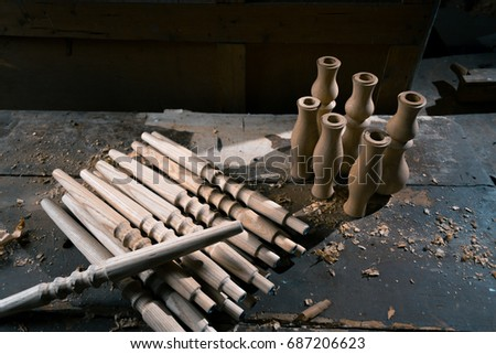 Wooden fragment ornament for shisha decoration on a wooden background #687206623