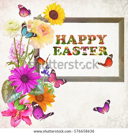 Free photos wooden frame and floral words happy easter created with wooden frame and floral words happy easter created with colorful beautiful wild flowers and butterflies m4hsunfo