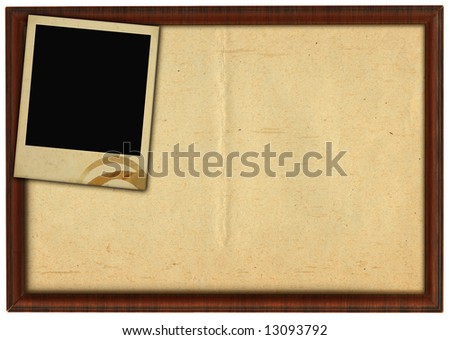 wooden frame and stained photo frame isolated on white background - stock photo