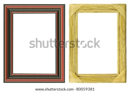 wooden frame for paintings or photographs isolated on white