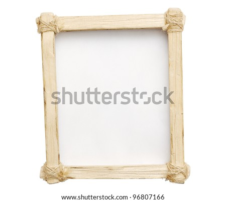 Wooden frame is made ??by hand on a white isolated background.