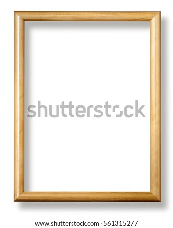 wooden frame isolated on white background with clipping path
