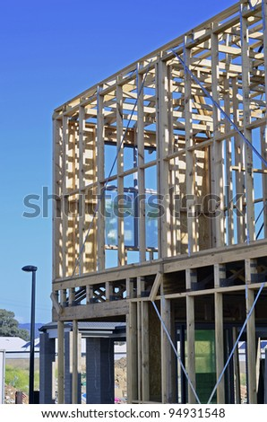 Wooden frame of house under construction