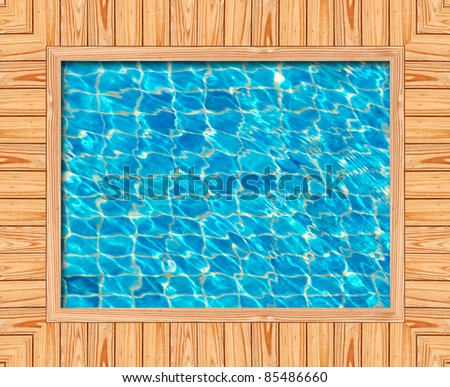 Wooden frame of the blue swimming pool