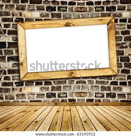wooden frame on the stone wall