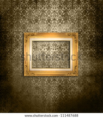 Wooden frame over grunge wallpaper