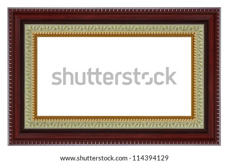 Wooden frame with a decorative pattern isolated on white background.