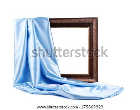 Wooden frame with blue silk. On a white background.