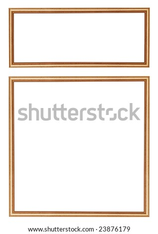 Wooden frames on white background.