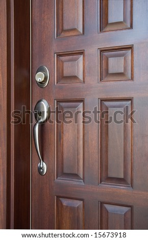Wooden Front Door - stock photo