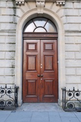 Wooden Front Door of a Luxurious Town House