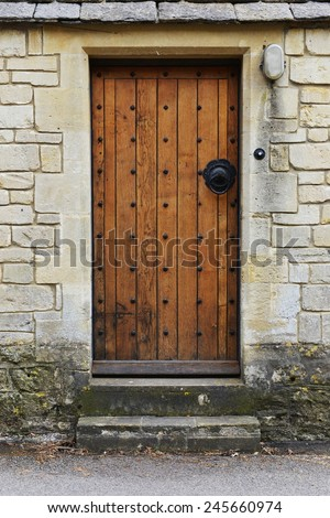 Wooden Front Door of an Old English House