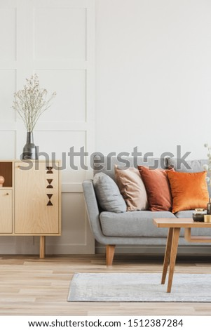 Wooden furniture and grey scandinavian sofa with pillows in beautiful living room interior #1512387284